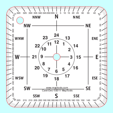 Product Description    360° Protractor / Compass Rose Cardinal Compass Points 24 Hour Clock Face Sample declination diagrams for both east and west declination North definitions Formulas for converting between Grid or True North and Magnetic North Using Grid and True North on a map Declination changes over time