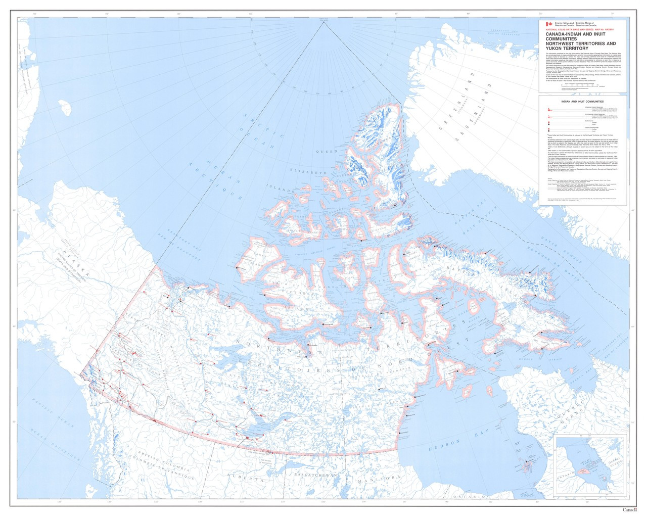 Canada Indian Inuit Communities Nwt Yukon Nunavut Provinces Map