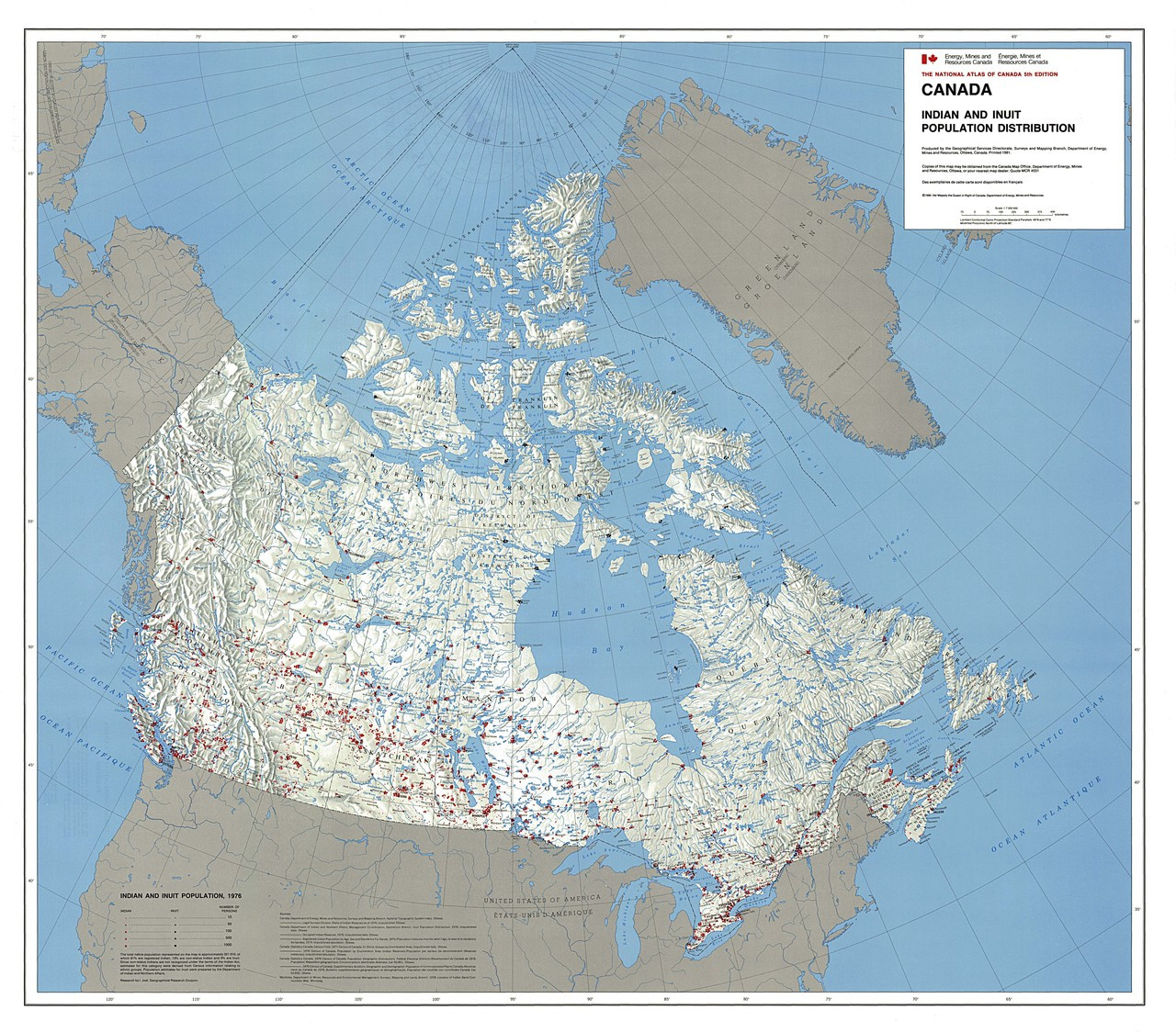 Map Of Canada America.Canada Indian Inuit Population Distribution Map