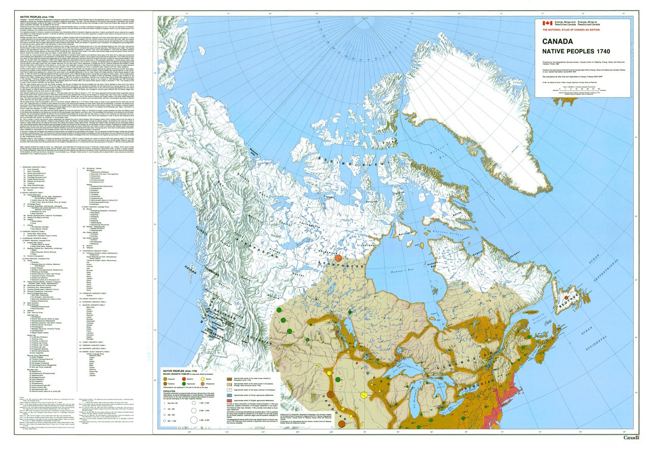 Map Of Canada Government Of Canada.Canada Native Peoples 1740 Map