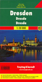 Indexed street map of Dresden at 1:20,000 from Freytag & Berndt with an enlargement of the Old Town at 1:8,000, as well as map of the environs of Dresden. Mapping is bright, colourful and clear, with one-way streets shown, as well as the S-bahn, bus, tram, cable-car and Elbe ferry networks with stops clearly indicated.  Points of interest such as museums of the Dresden State Art Collections, the the Saxon State Opera, theatres and parks are marked, as are local facilities. The enlargement of the Old Town shares the same mapping but with more clarity, and is indexed along with the main map on the reverse. A map of the city's environs shows the major road network leading into Dresden.  A diagram of Dresden's VGN Network (S-bahn, bus, tram, cable-car and Elbe ferry) included.  Map legend includes English.