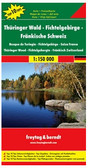 "Thuringian Forest - Fichtelgebirge - Franconian Highlands ""Top 10 Tips"" Map in Freytag & Berndt's series of detailed road maps at 1:150,000 covering Germany's popular holiday areas, each with a booklet with street plans, an index and descriptions of 10 selected places of interest, all prominently highlighted on the maps.  Relief is portrayed by hill-shading without distracting from other detail. Although these maps are using the same cartography as the publishers' 1:200,000 regional series, better scale and colouring make minor local roads and motorway junctions stand out more clearly. Road information includes intermediate driving distances, toll routes, scenic roads and tourist routes, steep gradients, caravan traffic restrictions, seasonal closures on mountain roads, etc. Railways, cable cars, ferries and airfields are also shown. Selected cycle routes and long distance hiking trails are included.   Picturesque towns are highlighted and in each title 10 selected places of interest are prominently marked and briefly described in the index booklet attached to the map cover. The booklet also provides street plans main towns in the region. Symbols mark various landmarks, places of interest and facilities, e.g. selected hotels, campsites, historical and architectural sites, etc. Latitude and longitude lines are drawn at 10' intervals.  *Map legend and the descriptions include English.*  *In this title:* street plans of central Erfurt, Leipzig and Würzburg."