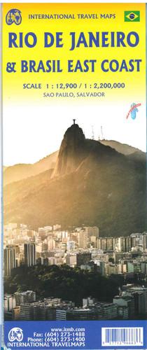 Brazil East Coast with Rio De Janeiro Travel Map