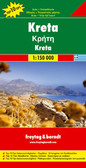 Crete in a series of Top 10 Tips maps from Freytag and Berndt covering Europe's popular tourist destination at 1:150,000, on a double-sided map with street plans, plans of main archaeological sites, and a booklet with brief, multilingual descriptions of the island's 10 best locations and places of interest.  Topography is shown by bold relief shading with spot heights and names of mountain ranges, peaks, etc. Road network includes a selection of small local tracks and highlights scenic routes. Cover is not that of the map  Picturesque towns and villages are highlighted and a range of icons mark various places of interest, including archaeological sites, churches, museums, marinas, campsites, youth hostels, golf courses, etc. The island's 10 best sights are prominently marked and given brief multilingual descriptions in a booklet attached to the map cover.   All place names are shown in both Greek and Latin alphabets. The map has latitude and longitude lines at intervals of 10'. Map legend and the descriptions of main sights include English.  Also included are street plans of central Iraklion, Rethymnon, Chania and Aghios Nikolaos, plus plans of the archaeological sites at Knossos, Festos, Aghia Triada, Zakros and Malia.