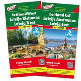 Latvia East and West Travel Map