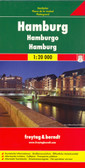 Indexed street map of Hamburg at 1:20,000 from Freytag & Berndt with an enlargement of the New Town at 1:10,000. Mapping is bright, colourful and clear, with one-way streets shown, as well as the U-bahn, S-bahn, bus and rail networks with stops clearly indicated. Shipping routes are also displayed.  Points of interest such as the city's docks, museums, theatres and parks are marked, as are local facilities. The enlargement of the New Town shares the same mapping but with more clarity, and is indexed along with the main map on the reverse.  A diagram of Hamburg's HVV Network (U-bahn, S-bahn, bus and train) included. Map legend includes English.