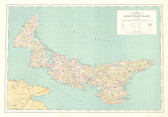 """PEI Prince Edward Island Map 34"""" x 24"""" from the 1964"""