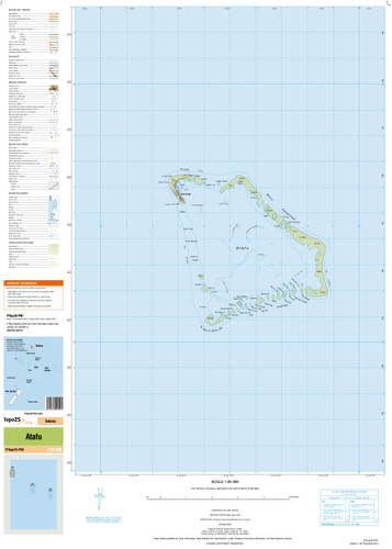 Topographic map of the Atafu in the Pacific at scale 1:25,000 by the NZ government