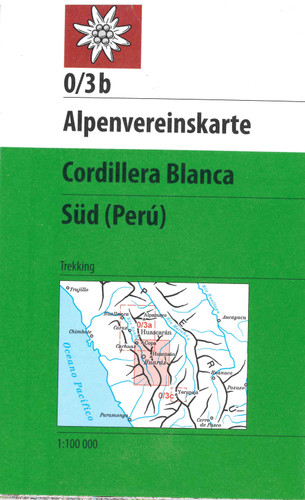 Cordillera Blanca South in Peru map