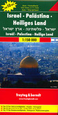"Israel - Palestine - Holy Land ""Top 10 Tips"" Map at 1:150,000 from Freytag & Berndt with a booklet containing an index, brief descriptions of region's 10 most popular destinations, plus a street plan of Jerusalem's Old City.   The map divides the country north/south (roughly half way between Jerusalem and Hebron), with the southern tip of the Negev Desert shown as an inset. Within Israel in pre-1967 boundaries, names of larger towns are shown in both scripts, with smaller towns, villages and geographical names in the Latin alphabet only. In the West Bank, place names are in the Latin alphabet only, with the main Jewish settlements in both scripts.  Despite its large lettering, outside the main Tel-Aviv/Herzliya conurbation the map very effectively shows the country's topography, with bold relief shading, spot heights and plenty of names of geographical features. Road network includes names of most junctions, useful when travelling across the country.   Symbols highlight the region's 10 most visited places, archaeological and religious sites, national parks and nature reserves, campsites and youth hostels, etc. The course of the separation barrier is marked. The map has a latitude/longitude lines at intervals of 10'. Multilingual legend includes English and Hebrew (no Arabic).   The booklet attached to the map cover contains brief descriptions (English included) of the top 10 sights, a street plan of Jerusalem's Old City, plus an index of place names which includes locations in the neighbouring countries.  *PLEASE NOTE: Whilst in no way commenting on the history and the conflicting claims within this region, it should perhaps be pointed out that those unfamiliar with the area may find the presentation of the national boundaries rather confusing.*"