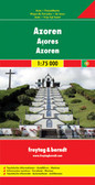 This large double-sided road map of the Azores, at 1:50,000 from Freytag & Berndt, shows the islands both individually and as a group and comes with an attached index and concise leisure guide booklet.   This map shows main and minor roads, motorways and toll roads, sections under construction or closed to traffic. Conveniently highlighted are scenic routes, gradients on steep roads, driving distances in kilometres, petrol and service stations etc. Railway lines are marked and international and local airports are indicated as well as ferry connections to the other islands.   Relief shading, spot heights and colouring and/or graphics provide a good presentation of the islands topography. Natural reserves are marked and symbols indicate various places of interest and facilities, e.g. museums, churches and castles, viewpoints, beaches, campsites and motels, etc. Latitude and longitude lines are drawn at 2' intervals.   A small inset shows the islands together as a group and ferry and domestic airlines connection within the islands.   The multilingual booklet, which includes English, contains an index listing all the localities with their postcodes and GPS coordinates and a brief description of main tourist sights.   * Please note: maps of the Azores by Turinta and by Freytag & Berndt use identical cartography, although the Turinta version does not include the booklet with an index and descriptions of sights.