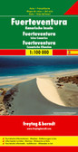 Fuerteventura at 1:100,000 on a map from Freytag & Berndt with icons highlighting numerous places of interest and recreational facilities including campsites. The island's topography is well presented by relief shading with spot heights, names of peaks and other geographical features, and boundaries of protected areas.   The map highlights scenic roads and gives driving distances on main routes. Large icons clearly mark various places of interest, including campsites, beaches, viewpoints, cultural and historical sites, golf courses, etc. The map has no geographical coordinates and is not indexed. Map legend includes English.
