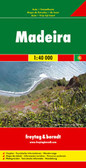 Madeira on a large, indexed, touring and sightseeing map from Freytag & Berndt at 1:40,000 with prominent highlighting for scenic roads, hiking routes, picturesque locations and places of interest, plus a street plan of central Funchal and a booklet with descriptions of best sights, etc. Place names and road numbers are in larger size font than found on other maps of the island.   Topography is presented by contours enhanced by relief shading, with numerous spot heights and names of geographical features. Boldly presented road network includes local roads or tracks, gives distances on main routes, and shows gradients on steep sections. Scenic routes are prominently marked. Hiking trails are also highlighted and where appropriate annotated with their official waymarking route numbers. The map indicates picturesque towns and villages, with the islands' best sights described in the accompanying booklet attached to the cover and clearly marked on the map itself by large icons. A wide range of other icons indicate various places of interest.   A separate inset at the same scale as the main map shows Porto Santo with similar presentation. For GPS, the map has a UTM grid, plus latitude and longitude margin ticks at intervals of 2'. The booklet provides an index which also gives for each location its GPS waypoints. Also provided is a street plan showing main sights in Funchal. Map legend and the descriptions in the booklet include English.   Please note: the same map is also published by Freytag & Berndt enlarged to 1:30,000 and presented on smaller size, double-sided sheet. Accompanying booklet includes descriptions of seven hiking routes.