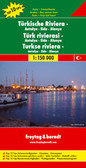 "Turkish Riviera: Antalya - Kemer - Fethiye ""Top 10 Tips"" Map from Freytag & Berndt, with descriptions of 10 best sights, street plans of central Antalya and Fethiye, plus plans of the archaeological sites at Perge and Termessos.   The map shows the area's road network, including unsurfaced tracks and paths, indicating scenic routes and intermediate driving distances on most local roads. Also marked is the course of the Lycian Way long-distance trail and its variants.  Picturesque towns and villages are highlighted. The region's 10 top sights are prominently marked, with brief descriptions provided in a booklet attached to the map cover. Symbols mark other places of interest and facilities, including campsites, marinas, museums, the region's famous archaeological sites, etc. Latitude and longitude lines are drawn at intervals of 10'. The booklet also provides an index of localities.  *Map legend and the descriptions of the selected sights include English.*  The map also has street plans of central Antalya and Fethiye, plus detailed plans the archaeological remains at Perge and Termessos."