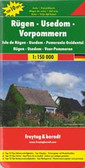 """Rügen - Usedom - Western Pomerania """"Top 10 Tips"""" Map in Freytag & Berndt's series of detailed road maps at 1:150,000 covering Germany's popular holiday areas, each with a booklet with street plans, an index and descriptions of 10 selected places of interest, all prominently highlighted on the maps.  Relief is portrayed by hill-shading without distracting from other detail. Although these maps are using the same cartography as the publishers' 1:200,000 regional series, better scale and colouring make minor local roads and motorway junctions stand out more clearly. Road information includes intermediate driving distances, toll routes, scenic roads and tourist routes, steep gradients, caravan traffic restrictions, seasonal closures on mountain roads, etc. Railways, cable cars, ferries and airfields are also shown. Selected cycle routes and long distance hiking trails are included.   Picturesque towns are highlighted and in each title 10 selected places of interest are prominently marked and briefly described in the index booklet attached to the map cover. The booklet also provides street plans main towns in the region. Symbols mark various landmarks, places of interest and facilities, e.g. selected hotels, campsites, historical and architectural sites, etc. Latitude and longitude lines are drawn at 10' intervals.  *Map legend and the descriptions include English.*   *In this title:* the booklet includes a street plan of central Rostock. Numerous cycling routes are prominently highlighted."""