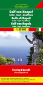 Gulf of Naples and its islands on a detailed road map at 1:50,000 from Freytag & Berndt, with Capri and Ischia at 1:20,000, street plans of central Naples, Sorrento and Amalfi and a plan of the archaeological site at Pompeii.   The main map covers the whole of the Gulf area, extending east to Nocera and south beyond Amalfi to include the whole of the Sorrento Peninsula and most of Monti Lattari. Ischia with Procida is shown as an inset. The map shows the area's road network, highlighting scenic routes, and includes several hiking paths on the northern slopes of Vesuvius and in the mountain of the Sorrento Peninsula. Local ferry connections are also marked.   Icons highlight various places of interest, including the archaeological sites at Pompeii and Herculaneum, campsites, beaches, marinas, castles and monasteries, etc. Along the slopes of Vesuvius lava flows show dates of various eruptions. Margin ticks give latitude at 12' intervals with longitude at 5'. Map legend includes English.   On the reverse, Capri and Ischia are shown enlarged to 1:20,000 for clearer presentation but without additional detail. Street plans cover central Naples, Sorrento, Amalfi and the towns of Capri and Ponte on Ischia. Also included is a detailed map of Pompeii highlighting various Roman remains.