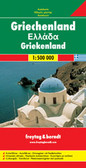 Double-sided road map of Greece at 1:500,000 from Freytag & Berndt with a separate index booklet which also includes a 16-page English language cultural guide with tourist information and brief descriptions of numerous archaeological, historical and other sites.   Bold relief shading with names of mountain ranges and main peaks shows the country's topography. All place names are given in both Greek and Latin alphabets. Road network includes small local roads but without distinguishing between surfaced and gravel roads. Toll roads and motorway services are shown, with diving distances marked on many secondary routes. The map also shows railway network and ferry routes.   National parks and protected areas are highlighted and symbols show various places of interest including archaeological and historical sites, marinas, campsites, etc. Latitude and longitude lines are drawn at intervals of 30'. Multilingual map legend includes English.   A separate 66-page booklet attached to the map cover includes an index (with postcodes) and multilingual cultural guide to the country's history and its heritage. Modern Greek names are used for the archaeological sites, e.g. Mikines for Mycenae, etc.)
