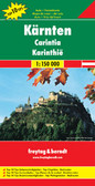 """Carinthia Province """"Top 10 Tips"""" on an indexed road map at 1:150,000 from Freytag & Berndt, with highlighting for cycle routes, scenic roads and tourist routes, places of interest, etc, plus descriptions of sights and routes and 10 street plans.   An index booklet attached to the map cover provides brief multilingual descriptions of the region's 10 main sights, plus of descriptions of 12 cycling trails. City centre street plans cover 10 towns: Klagenfurt, Villach, Feldkirchen, Friesach, Gmünd, Hermagor, Spittal, St. Veit, Völkermarkt and Volfberg. Map legend and all the text include English.   Maps in F&B's """"Top 10 Tops"""" series have relief portrayed by hill-shading without distracting from other detail, and plenty of names of topographic features: mountain chains, valley, peaks, etc. National Parks and other protected areas are prominently highlighted. Road network includes minor local roads and selected cart tracks, shows driving distances are main and selected local, and indicates toll routes, steep gradients, caravan traffic restrictions, seasonal closures on mountain roads, etc. Scenic roads are highlighted, as are cycle routes and special tourist routes. Also marked are the country's long-distance hiking trails. Railway lines are shown with stations. Picturesque towns and other locations are highlighted and in each title 10 selected main sights are prominently marked and are briefly described in a booklet attached to the map cover. Symbols depict various landmarks, places of interest and facilities, including campsites, youth hostels, viewpoints, historical buildings, etc. Latitude and longitude lines are drawn at 10' intervals. In addition to the descriptions, accompanying booklets also provide an index listing all locations with their postcodes and street plans main towns in each region – please see individual descriptions for more details."""