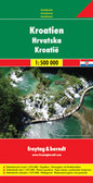 Croatia at 1:500,000 on an indexed road map from Freytag & Berndt, with more detailed mapping of popular coastal areas and 15 city centre street plans of its main towns and resorts. Bosnia-Herzegovina and most of Slovenia and Montenegro are included in the coverage.   The main map is at 1:500,000 and shows the region's topography by relief shading with plenty of names of mountain ranges. Colouring indicates forested areas and national parks are marked. Road network includes small local roads, many with driving distances, gives gradient marking on steep roads and highlights scenic routes. Ferry routes and railway lines are included and local airports are marked. Symbols mark various places of interest. Latitude and longitude lines are drawn at 30' intervals. The accompanying index is in a separate booklet attached to the map cover.   The booklet also includes city centre street plans of Croatia's 15 main cities: Dubrovnik, Karlovac, Opatija, Osijek, Pula, Rijeka, Rovinj, Slavonski Brod, Sibenik, Split, Trojor, Umag, Varazdin, Zadar and Zagreb.   The map also has four large panels covering the most popular sections of Croatia's Adriatic coast at 1:275,000, providing more detailed coverage of the coast and the numerous islands. This mapping has latitude and longitude lines at 15' intervals.   Multilingual map legend includes English.
