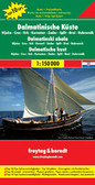 """Dalmatian Coast """"Top 10 Tips"""" Map at 1:150,000 from Freytag & Berndt with a booklet containing an index, brief descriptions of region's 10 most popular destinations, plus street plans of Dubrovnik's Old Town and central Pula, Rijeka, Split, Sibenik and Zadar.   The map is double-sided and presents the region in three sections, as indicated on our area coverage image (NB. Istrian Peninsula is included). Topography is shown by relief shading with spot heights, with plenty of names of mountain and hill chains, etc. National parks and other protected areas are clearly marked. Road network includes small local roads and selected cart tracks, and indicates motorway services, routes closed to traffic or not recommended for caravans, seasonal closures, gradients for steep roads, tourist routes and scenic roads, etc. Railways and ferry routes to the islands are marked.   Picturesque towns and villages are highlighted and the region's 10 top sights are prominently marked, with brief descriptions provided in a booklet attached to the map cover. Symbols mark other places of interest and facilities, including campsites and youth hostels, marinas, golf courses, museums, churches and castles, viewpoints, etc. Latitude and longitude lines are drawn at intervals of 10'.   The booklet attached to the map cover also includes an index listing all localities with their postcodes, plus street plans of Dubrovnik's Old Town and central Pula, Rijeka, Split, Sibenik and Zadar. Map legend, conveniently shown on both sides of the map, and the descriptions include English."""
