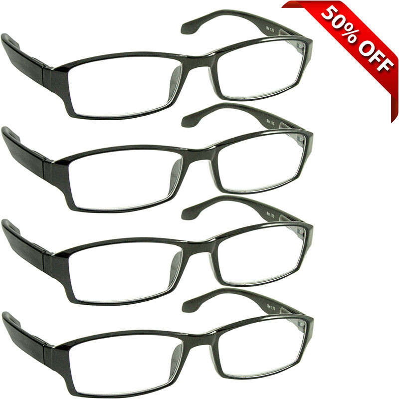 72800b818f37 Wall Street Reading Glasses 4 Pack Black. Your Price   23.95 (You save   23.95). Image 1
