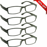 Wall Street Reading Glasses 4 Pack Black