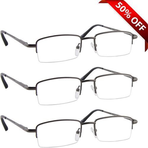 Value 3 Pack Half Frame Metal Reading Glasses