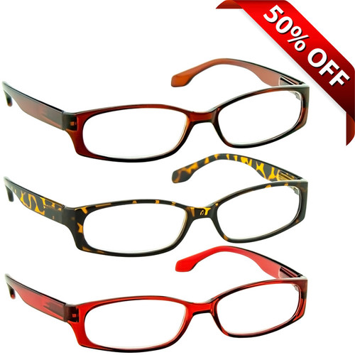 2b7d854ea12 Brookside Reading Glasses Value 3 Pack Brown Red Tortoise