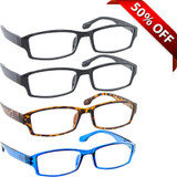 Wall Street Reading Glasses 4 Pack 2 Black Tortoise Blue