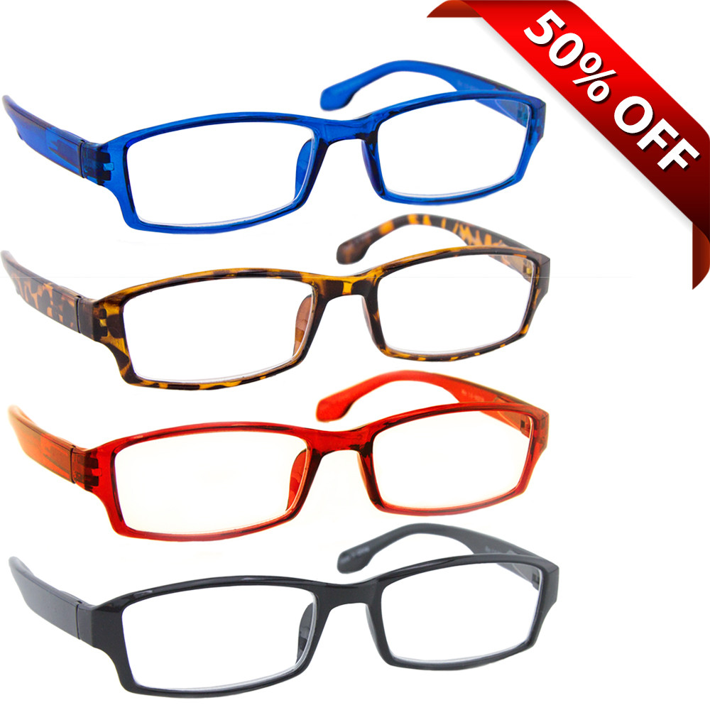 7efa1562246 The Wall Street Reading Glasses Value 4 Pack Blue Tortoise Red Black