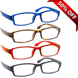 Wall Street Reading Glasses 4 Pack Blue Tortoise Red Black