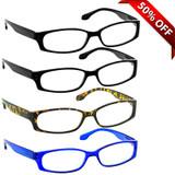 Brookside Reading Glasses 4 Pack 2 Black Tortoise Blue