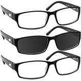 Professional Reading Glasses 3 Pack 2 Black Sun