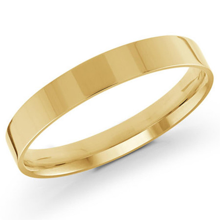 Mens 3 MM flat comfort fit yellow gold band - #J-105-310G