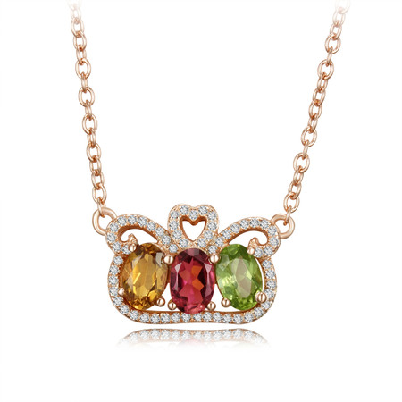 1 1/2 CTW Oval Multi-Color tourmaline  Fancy Pendant Necklace in .925 Sterling Silver with 18k Rose Gold Plating With Chain - #BMS170289