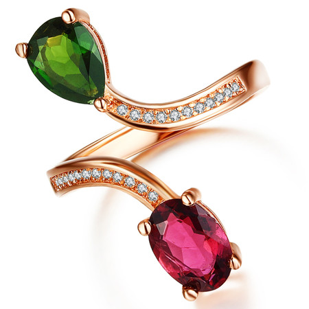 1 1/3 CTW Multi Multi-Color Tourmaline  Cocktail Ring in .925 Sterling Silver with 18K Rose Gold Plating - Size Adjustable - #BMS170297