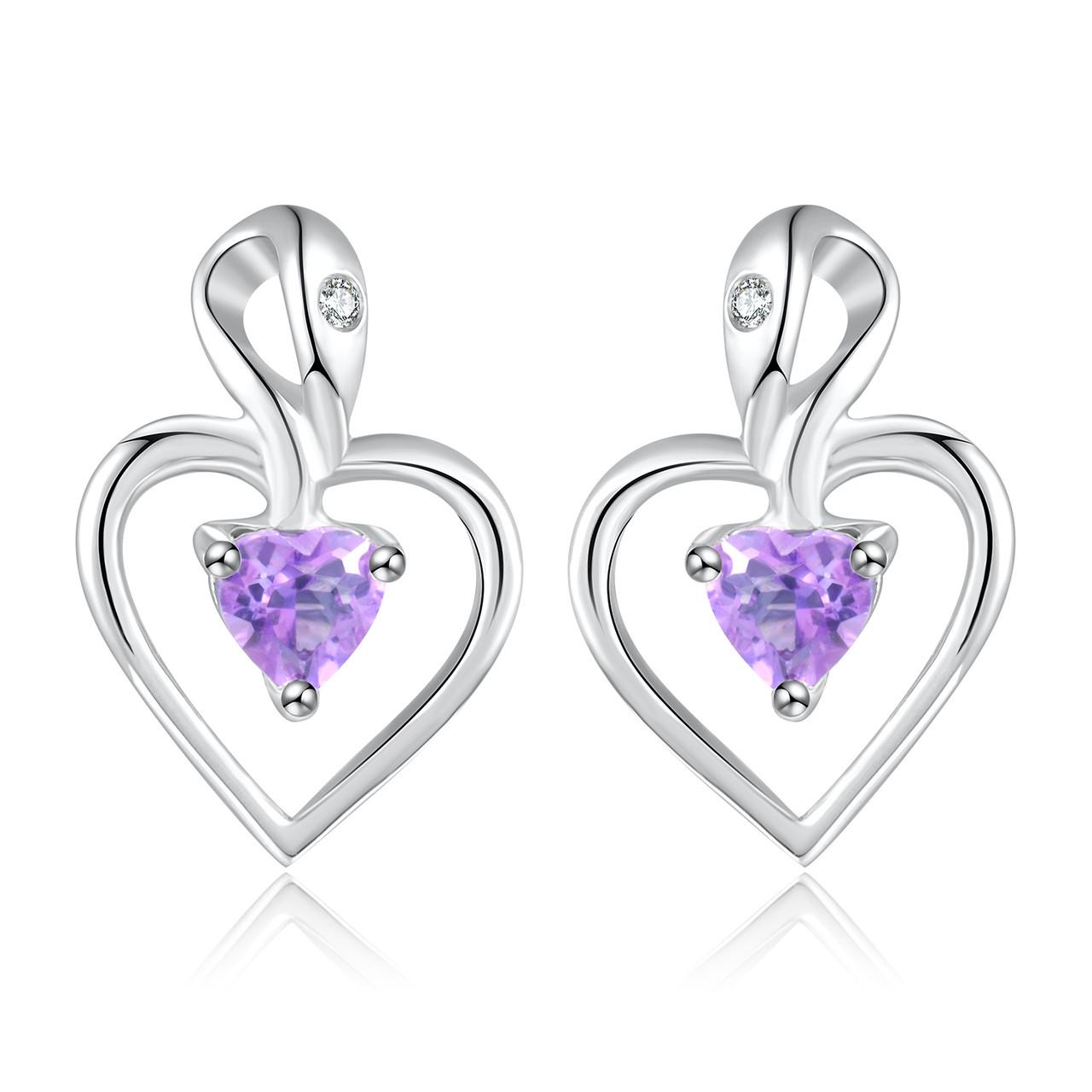 1/5 CTW Heart Purple Amethyst Stud Earrings in  925 Sterling