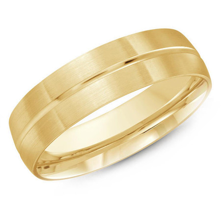 Mens 6 MM yellow gold satin finish dome band with center groove - #J-531-610G