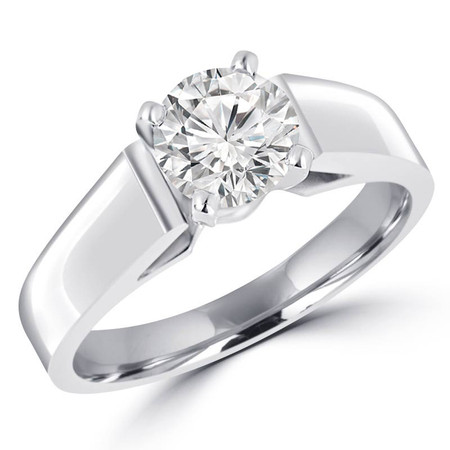 Round Cut Diamond Solitaire Cathedral-Set High-Set 4-Prong Engagement Ring in White Gold - #323L-W