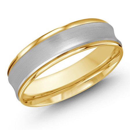 Mens 7 MM two-tone white and yellow gold concave satin finish band - #JM-095-7G