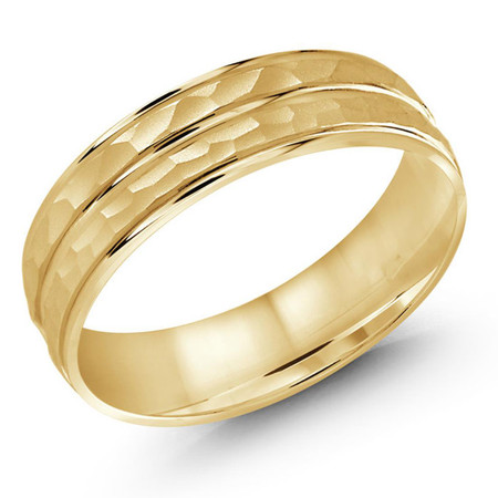 Mens 5 MM all yellow gold dual sectioned sandblast hammered center band - #JM-1108-6YG