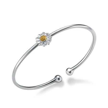 Flower Bangle Bracelet in .925 Sterling Silver - #BMS170432