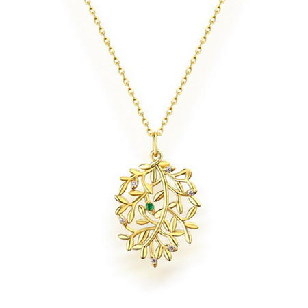 1/20 CTW Round Green Emerald Leaf Fancy Pendant Necklace in .925 Sterling Silver with 18K Yellow Gold Plating With Chain - #BMS170433