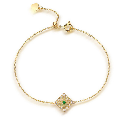 1/20 CTW Round Green Emerald  Link Bracelet in .925 Sterling Silver with 18K Yellow Gold Plating - #BMS170434