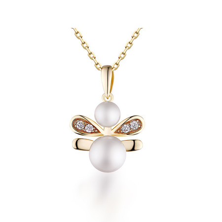 1 3/4 CTW Round White Pearl Bee Fancy Pendant Necklace in .925 Sterling Silver with 18K Yellow Gold Plating With Chain - #BMS170435