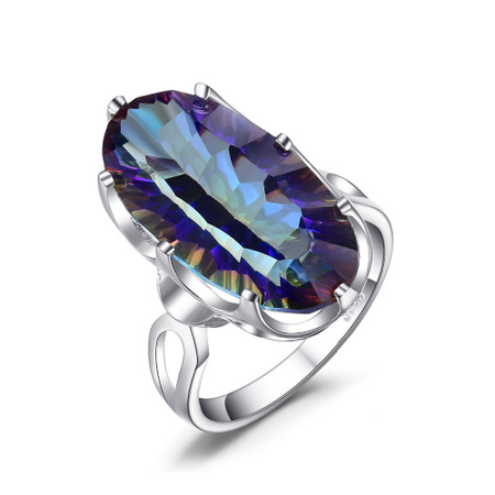 8 CT Oval Mystic Topaz Solitaire Cocktail Ring in .925 Sterling Silver - Size 6 - #BMS170436