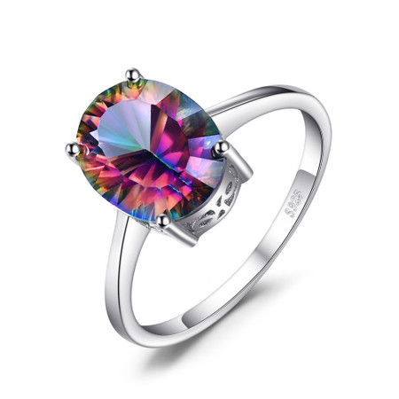 2 1/2 CT Oval Mystic Topaz Solitaire Cocktail Ring in .925 Sterling Silver - Size 6 - #BMS170438