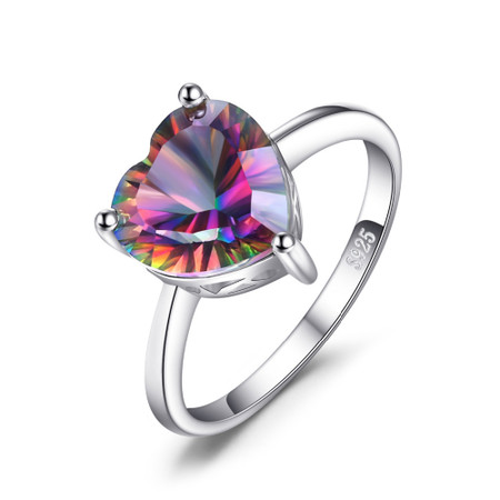 2 2/3 CT Heart Mystic Topaz Heart Cocktail Ring in .925 Sterling Silver - Size 6 - #BMS170440