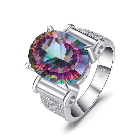 10 CTW Oval Mystic Topaz  Cocktail Ring in .925 Sterling Silver - Size 6 - #BMS170442