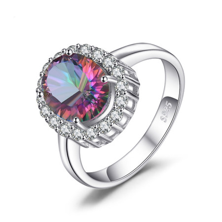 10 CTW Oval Mystic Topaz Halo Cocktail Ring in .925 Sterling Silver - Size 6 - #BMS170444